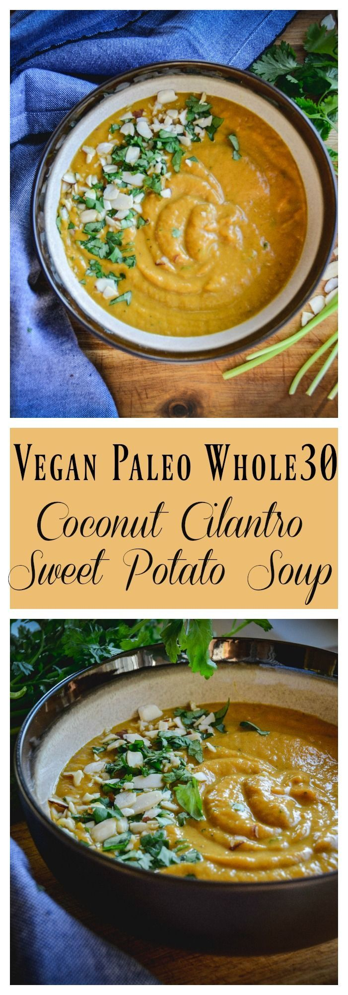 This soup is creamy, warming and full of spices. You need sweet potatoes, coconut milk, broth, onion, spices and cilantro to whip this up. It's paleo, whole 30 and vegan.
