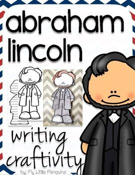This download includes a craftivity to support your teaching on Abraham Lincoln which is approximately 10 tall. The first page includes the image of Abraham Lincoln which kids color, cut, and write their name. The second page, is a lined writing page in the shape of Abraham Lincoln (which students will again cut out).