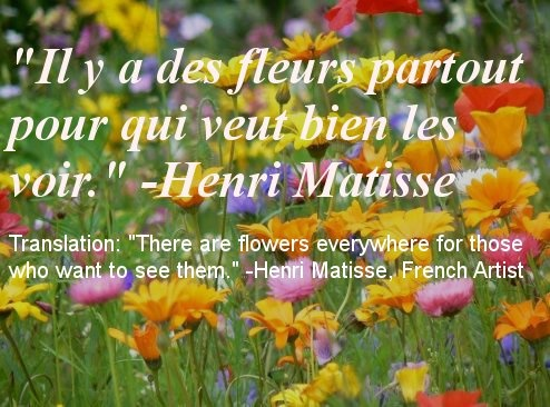 Inspirational French quote about optimism and having a good outlook on life by Henri Matisse, a famous French painter.