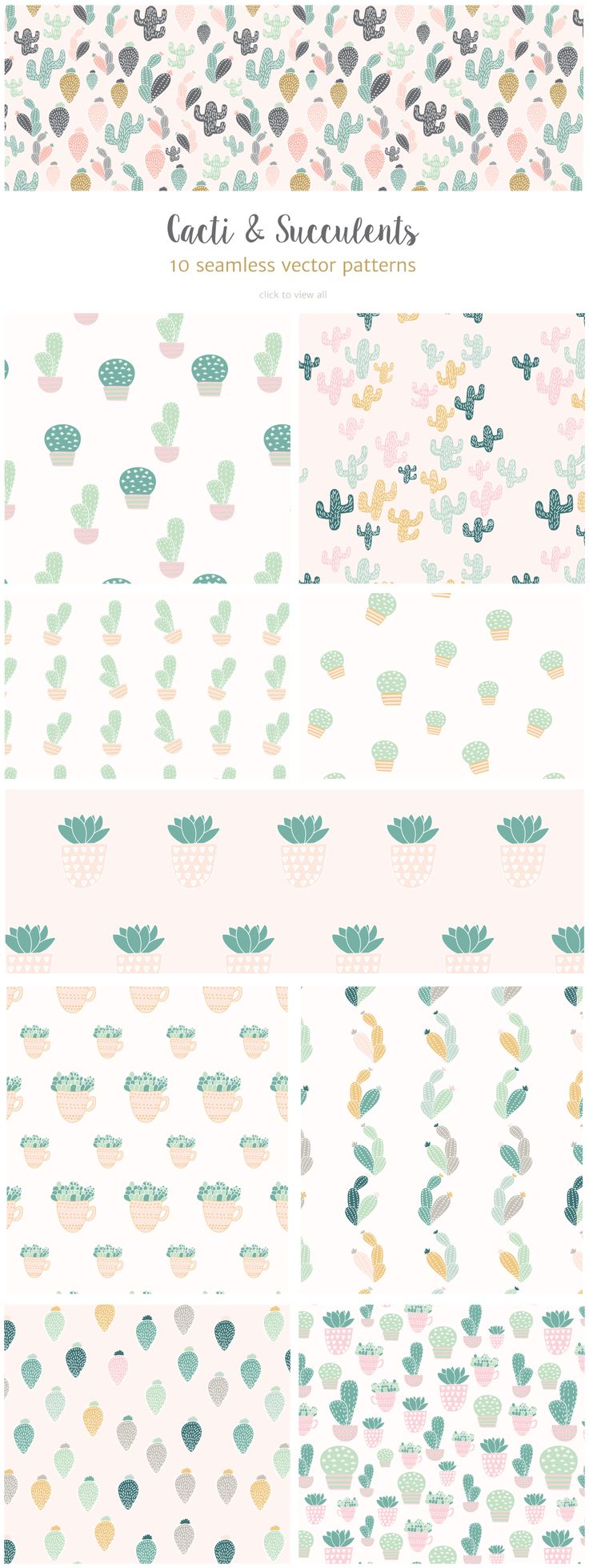 Cactus and Succulents seamless patterns and illustrations can be used to give a playful look to your design projects or printed on paper and textiles.