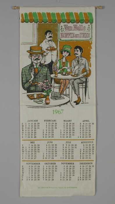 """Op textiel gedrukte kalender, """"Erven Van Nelle 1967"""""""
