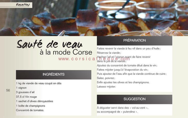 Sauté de veau à la mode corse / Recettes / Savoir faire / Accueil - 1er Média Culturel Corse - Corsicatheque.com