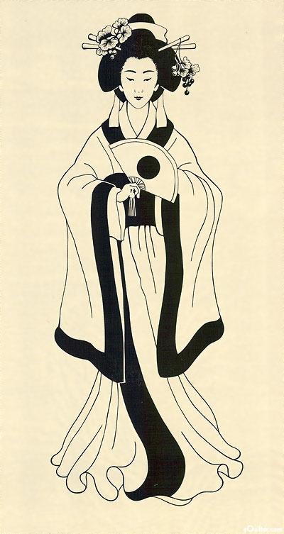"Geisha Princesses - Empress Mari - Cream - 24"" x 44"" PANEL"