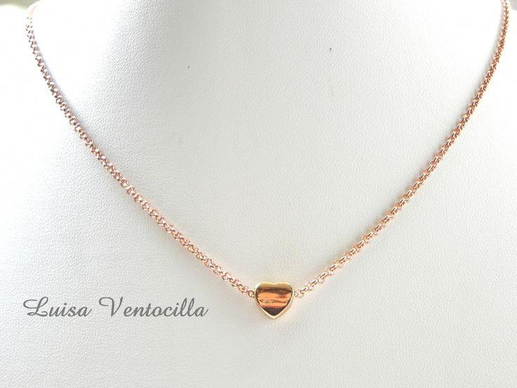 Vergoldete Halskette mit Herz von Luisa Ventocilla Shop auf DaWanda.com