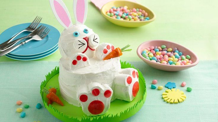 Bake up this easy bunny cake made with two cake rounds and some cupcakes for your Easter gathering.   Learn to make this recipe with our how-to.