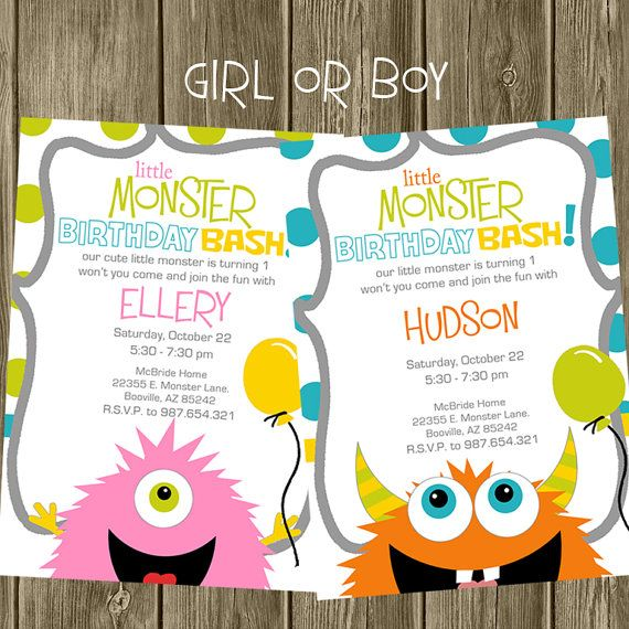Monster Birthday Party Invitation by shelleyspaperstudio on Etsy, $13.50 (INVITE for BOY)