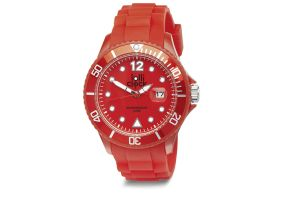 Red Lolliclock Watch with Date. 44mm Polycarbonite case and silicon  strap, printing dial up index, 5ATM 3 hands date movement PC32. Buy online at www.lolliclock.com.au