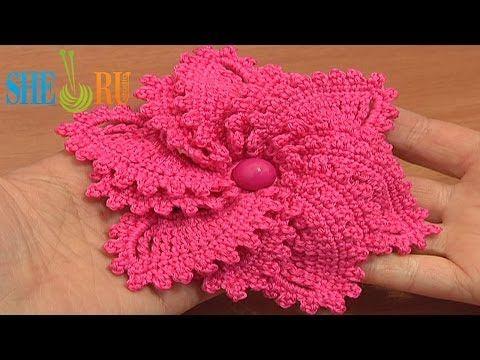 ▶ 12-Petal Crocheted Spiral Flower Tutorial 69 Flower to Crochet - YouTube