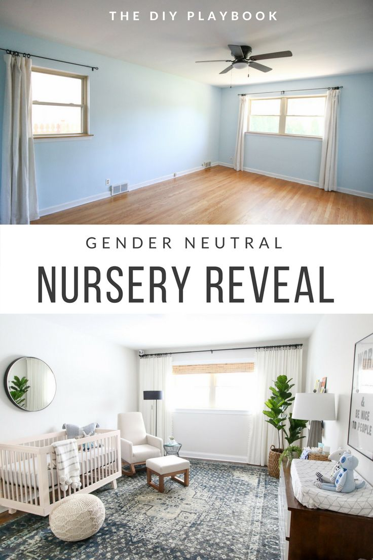 The before and after of a gender neutral nursery space. Love this bright nursery with blue accents for a baby boy #nursery