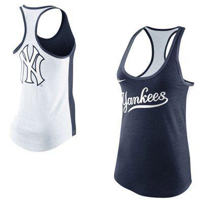 Nike New York Yankees Women's Tri-Blend Loose Fit Racerback Tank - Navy Blue/White
