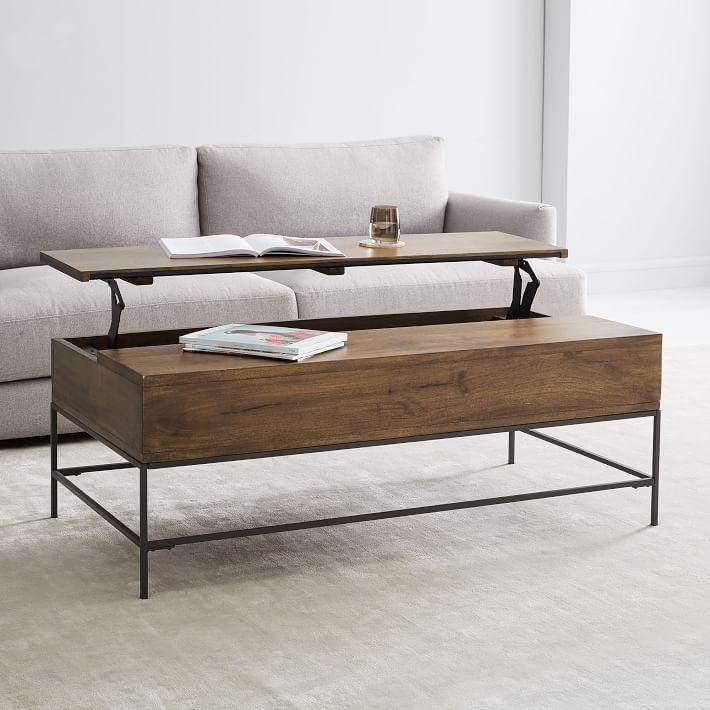 Industrial Storage Coffee Table, Large, Mango Wood/Metal