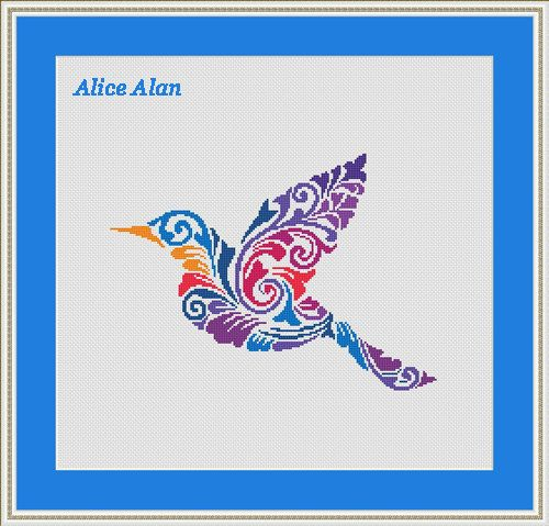 Cross Stitch Pattern silhouette Bird Hummingbird от HallStitch