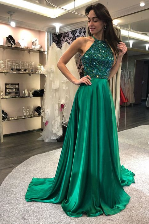 Sparkly Dark Green Beaded Prom Dress,Gorgeous Halter Evening Dress   Prom dresses, Prom dress with train, Cheap prom dresses long