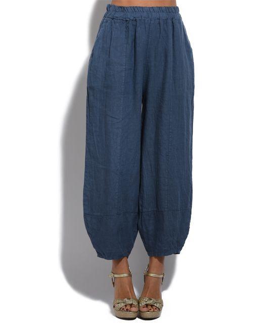 Blue Linen Harem Pants