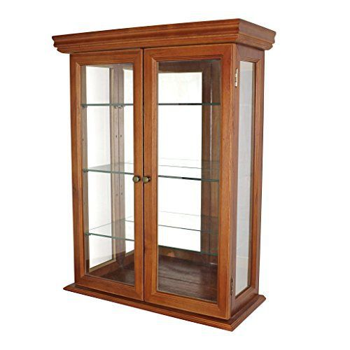 Exemplifying everything that makes the country Tuscan style popular, this clean-lined, mirror-backed, collectors' cabinet features three glass shelves and glass side panels to shed maximum light on your prized possessions. Crafted of solid hardwood, it boasts framed glass doors that open... more details available at https://furniture.bestselleroutlets.com/accent-furniture/display-curio-cabinets/product-review-for-glass-curio-cabinets-country-tuscan-wall-mounted-curio-cab