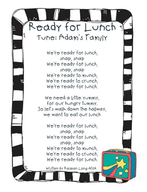 Lunch Song to the Adam's Family Song  created by me! :)