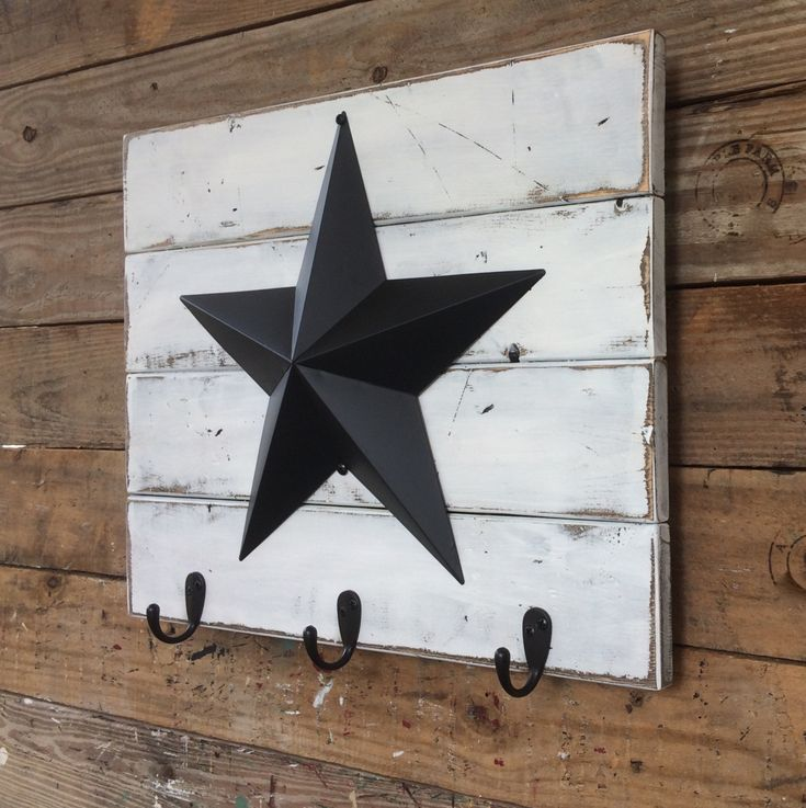 White Distressed Wood Wall Hanging with 12 Inch Black Barn Star and Three Black Hooks; Rustic, Country, Primitive, Farmhouse Antique Décor by AppleFarmCreations on Etsy