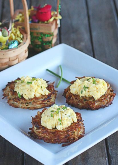 "Crispy potatoes compliment soft scrambled eggs in this delicious Chive Egg ""Nests"" recipe that is perfect for Easter brunch."