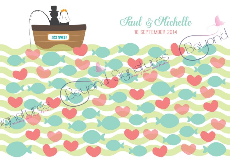 Pink and Teal Fishing wedding guest book poster from Beyondsignatures.com