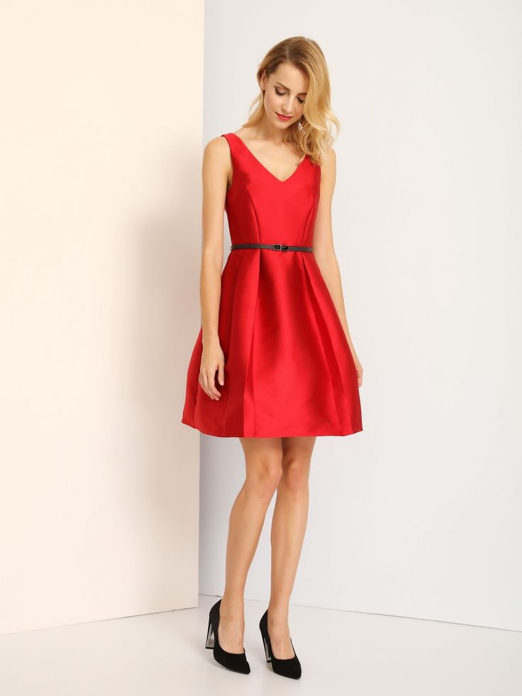 Red Pleated Short Dress   Top Secret   Fashionhub. Pleated Dress, Red Pleated Dress, Online Shopping South Africa,  R1895.00   http://fashionhub.co.za/red-belted-pleated-dress-by-top-secret.html