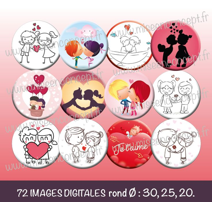 72 images digitales st valentin personnage rond - Coeurs amoureux ...