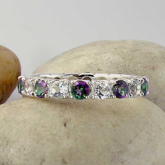 Mystic Topaz & White Topaz Eternity Band Ring 925 Sterling Silver - made to order in your ring size