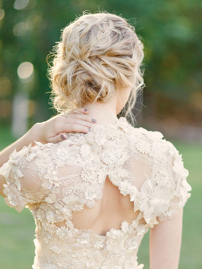 Floral Embroidery Wedding Dress with a Romantic Bridal Hairstyle