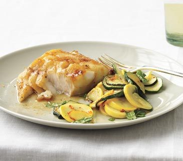 Soy-Glazed Fish With Sautéed Summer Squash: 2 tablespoons plus 1 teaspoon canola oil kosher salt and black pepper 1 1/2 pounds small zucchini and summer squash (about 4 total), thinly sliced 1/4 teaspoon crushed red pepper 1/4 cup chopped fresh mint
