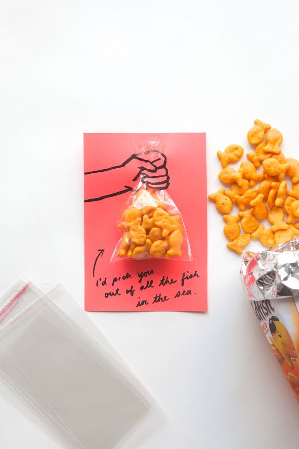 Pass out something savory instead of something sweet this Valentine's Day to make this Goldfish Card.