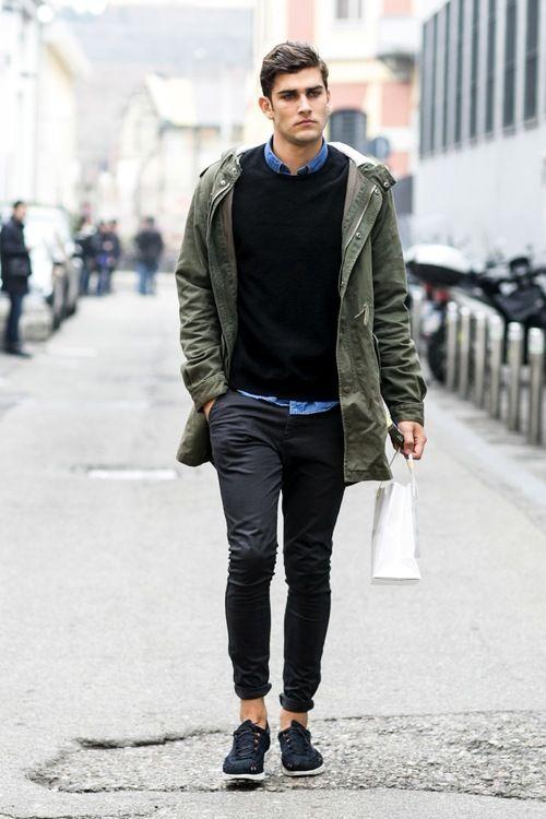 デニムシャツコーデメンズJacket , blue button up , Black Sweater , Black Skinny Chinos , and black tennis shoes . Men's Fall , Winter