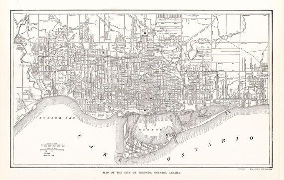 Toronto Ontario Canada City Map by ArtifactMaps on Etsy