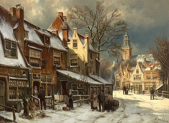 Willem Koekkoek - A Dutch Town in Winter
