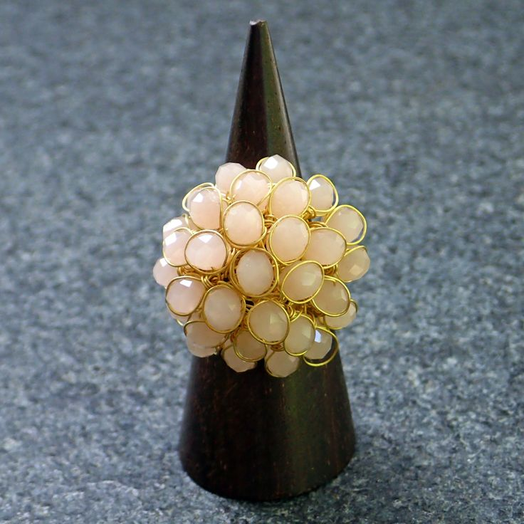 Ring from pink faceted crystals and brass embelishment, on brass base. Statement,handmade,adjustable, cluster, pink colour, crystal, for her by Menir on Etsy