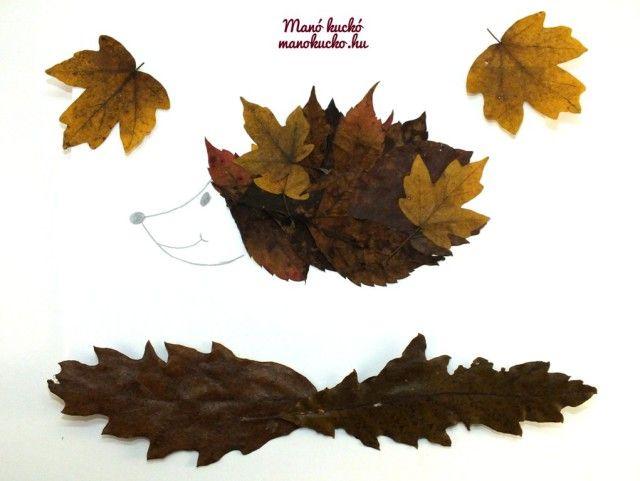Őszi levelekből állatkák - Manó kuckó