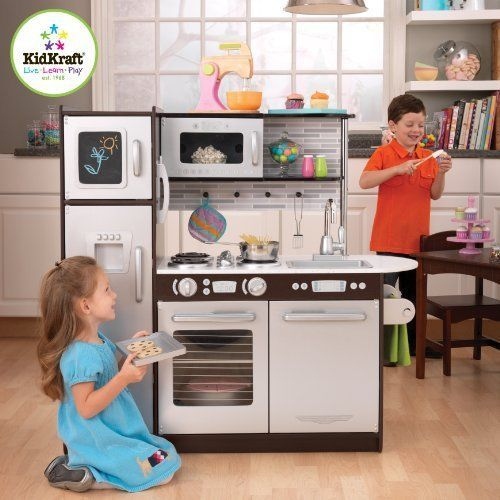 KidKraft Kitchen Set Refrigerator Cooking Oven Dishes Girls Kids Play Espresso  #KidKraft