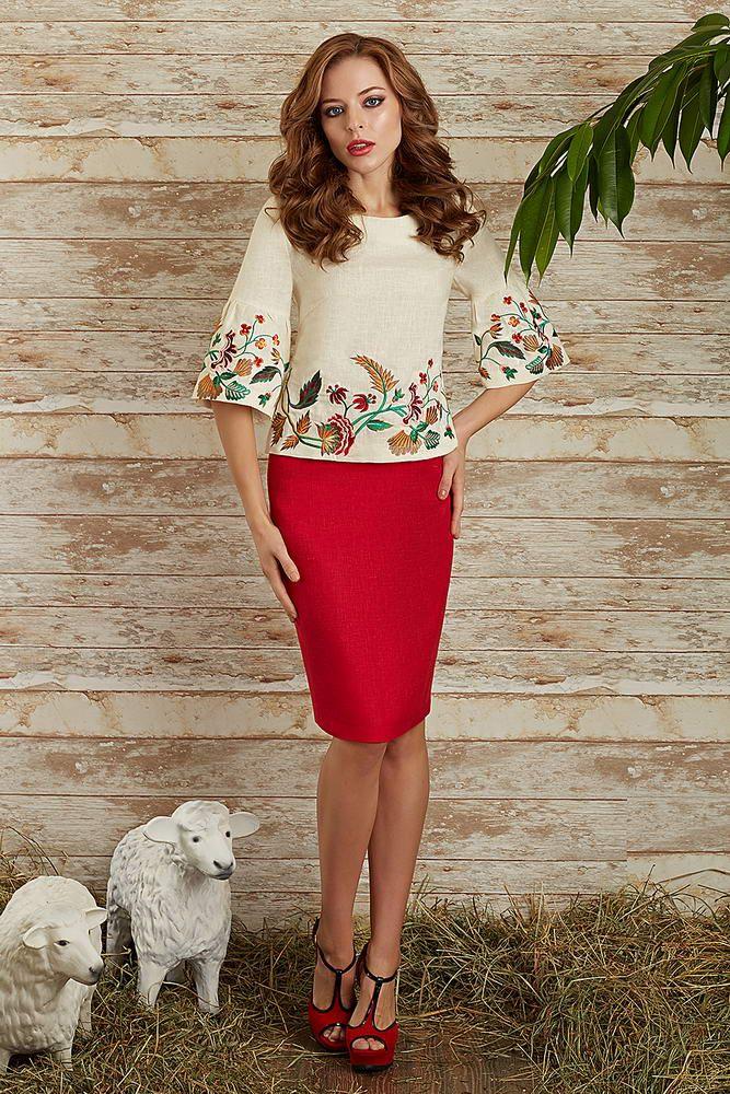 Купить юбочный комплект из льна с вышивкой 2569 (2569p) дешево в Москве: цена, отзывы || Интернет магазин В восторге