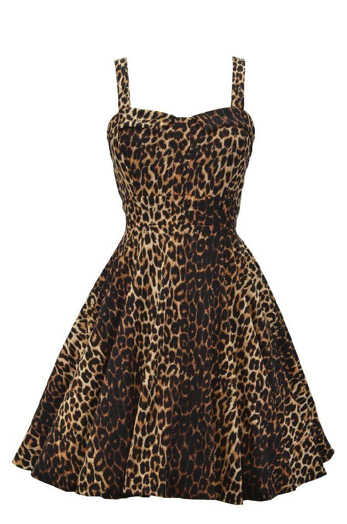 This retro inspired leopard swing dress is amazing! Features include a sweetheart bust line, tie-back detail, and zip closure in back. This dress has plenty of stretch making a great fit! Made in the