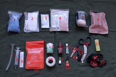 Numbered contents of Paul Kirtley's Wilderness First Aid Kit