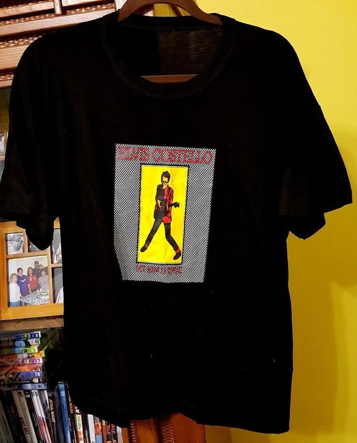ELVIS COSTELLO Large BLACK T-Shirt MY AIM IS TRUE
