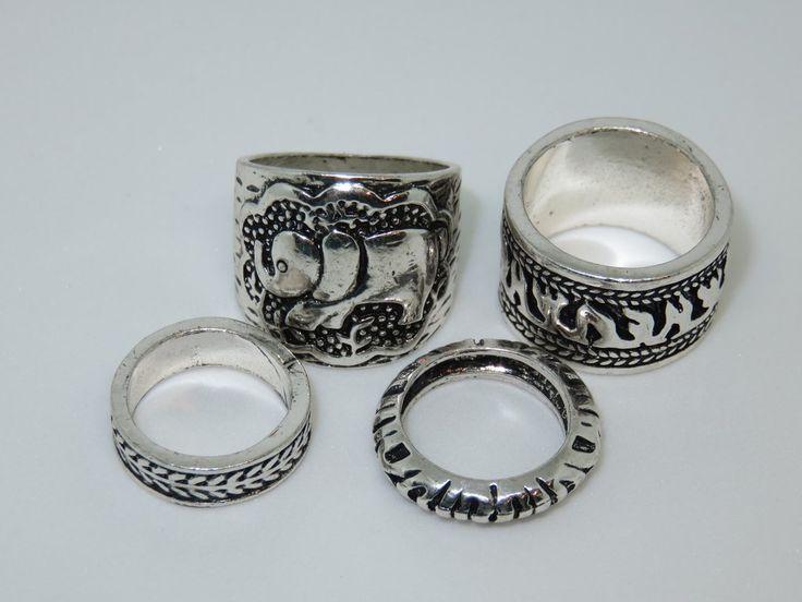 Antique Silver Elephant Ring Set