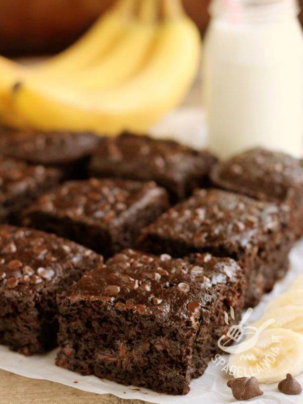 Ricetta Brownies Con Cacao In Polvere.Brownies Al Cioccolato E Banane Ricetta Dolci Ricette Dolci Ricette