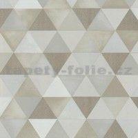 Vliesové tapety na zeď Graphics Alive - geometrický vzor hnědo-bílý - SLEVA