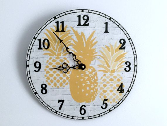 Pineapple Wall Clock 12 Kitchen Wall Clock by GoldenDaysDesigns