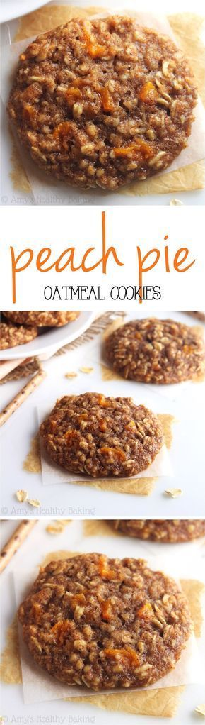 Clean-Eating Peach Pie Oatmeal Cookies -- these skinny cookies don't taste healthy at all! You'll never need another oatmeal cookie recipe again!