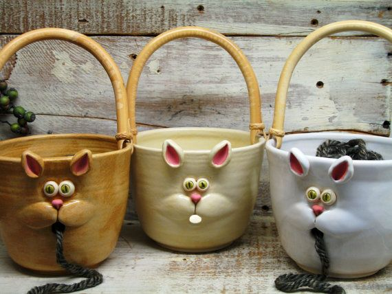 Cat Face Yarn bowl - Knitting Bowl - Large Yarn Bowl with Cute Cat Mouth - Hand Made Pottery by Heidi
