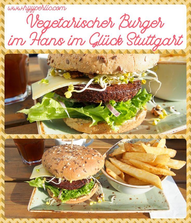 Vegetarischer Burger im Hans im Glück Burgerrestaurant in Stuttgart am Milaneo Einkaufszentrum - wolpertinger burger mit walnussbratling heumilchkäse sprossen walnüssen und pommes als beilage