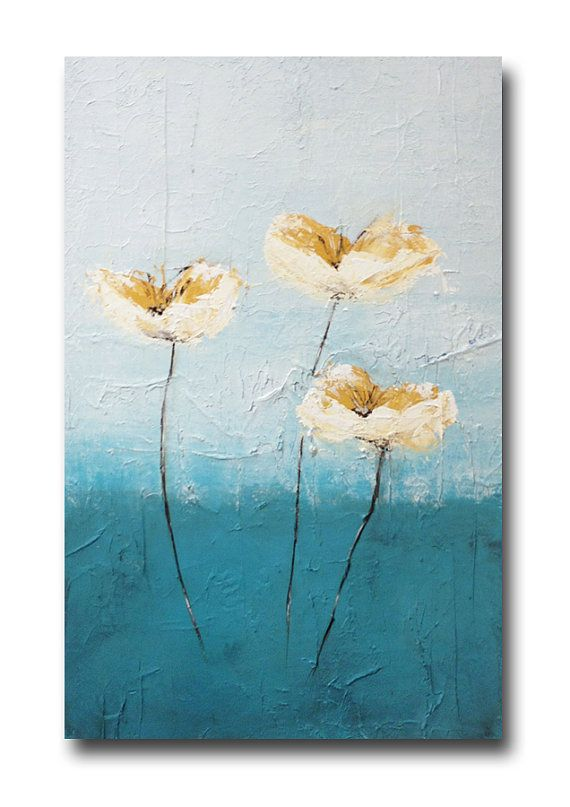 Original Art Large Abstract Flower Painting by MAContemporaryArt, $395.00