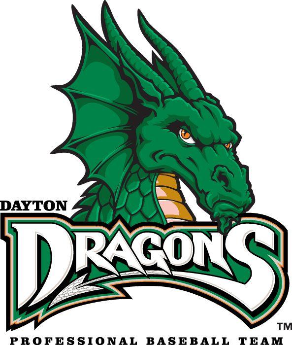 Dayton Dragons Primary Logo (2000) - A green dragon above team script
