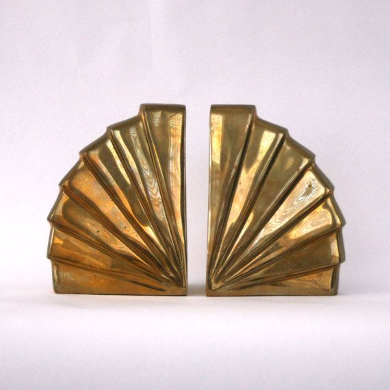 Vintage Bookends. Brass Bookends Art Deco Bookends.  RhapsodyAttic