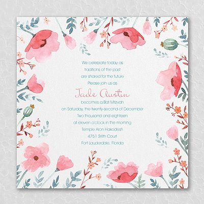"Pretty Poppies - Invitation - Coral  Make your Bat Mitzvah invitation ""pop"" out from all the rest! Coral pink poppies point to your wording in the prettiest way."